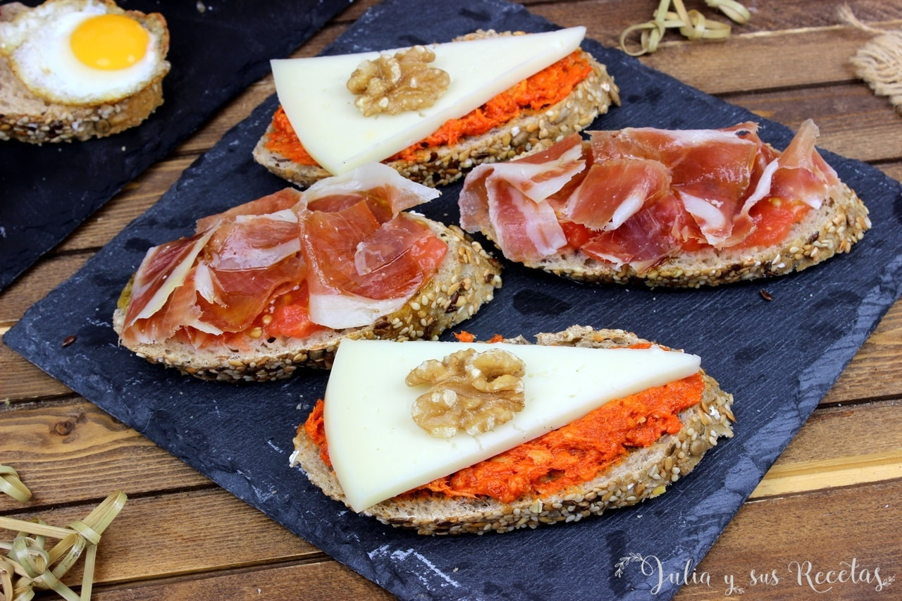 tapas sobrasada queso jamon tomate