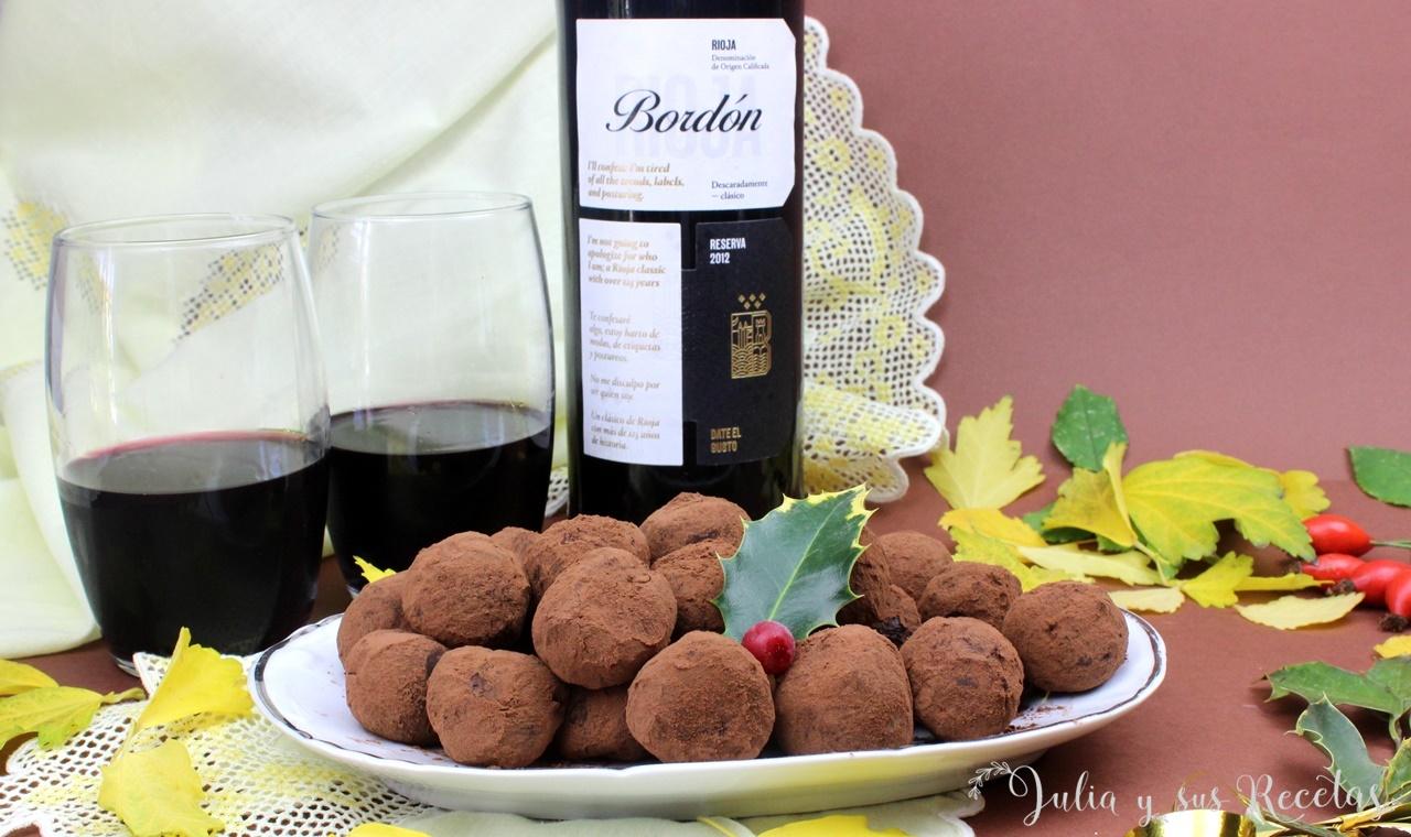 trufas al vino plato mesa